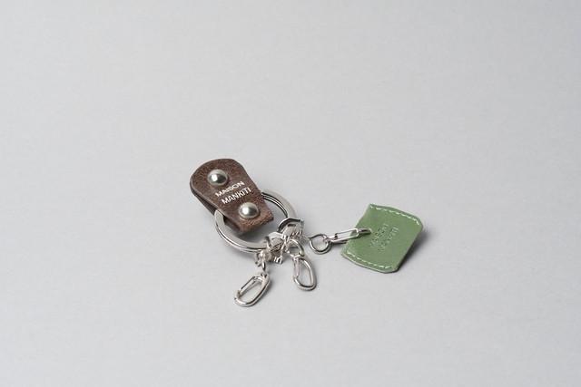 KEY RING・CAP ■ダークブラウンS・アイビーグリーン■_本革真鍮キーリング・キーキャップセット_ - メイン画像
