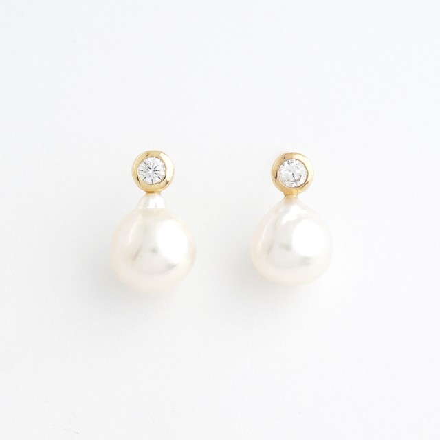 Akoya pearl & diamond pierce