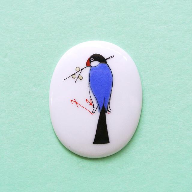 《鳥/文鳥》 小鳥のブローチ ブンチョウ KUTANI SEAL クタニシール 九谷焼 KS2-47