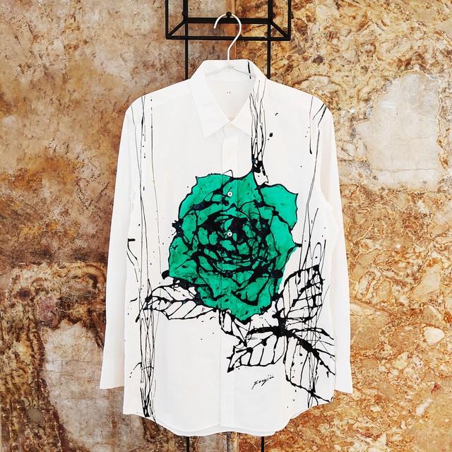 F's rose【 藤井清秀  シャツアート】ディープグリーン薔薇 M