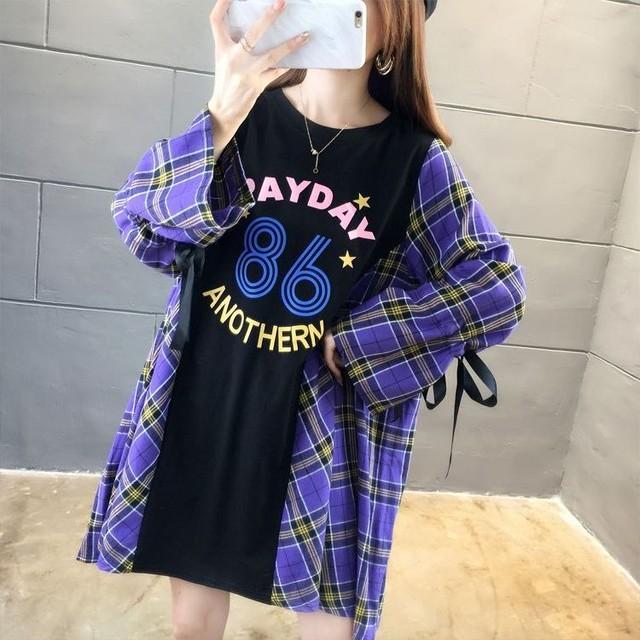 フェイクレイヤード ドッキング ワンピース チュニック チェック × Tシャツ 長袖 韓国ファッション レディース ラウンドネック ランタンスリーブ レトロ / Style plus size loose long sleeve shirt ins tide (DTC-604223705546)