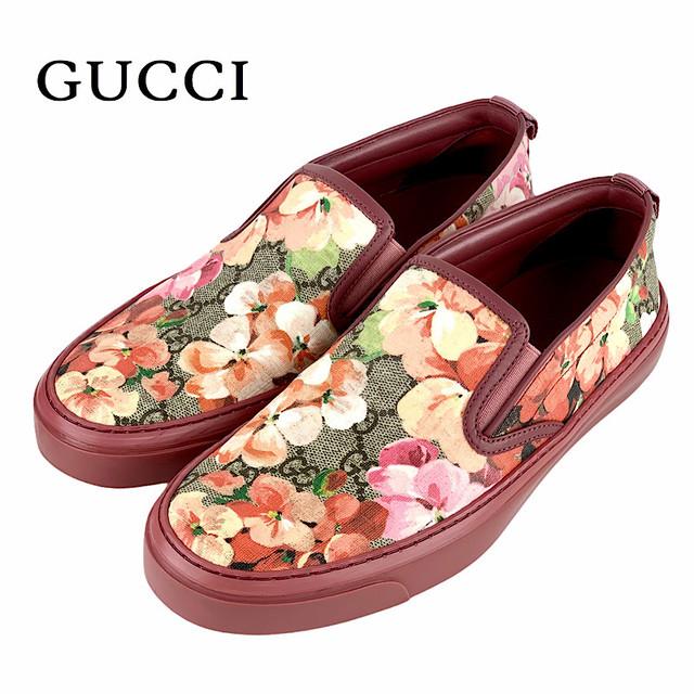 2402 グッチ GGキャンバス スニーカー 花柄 ピンク
