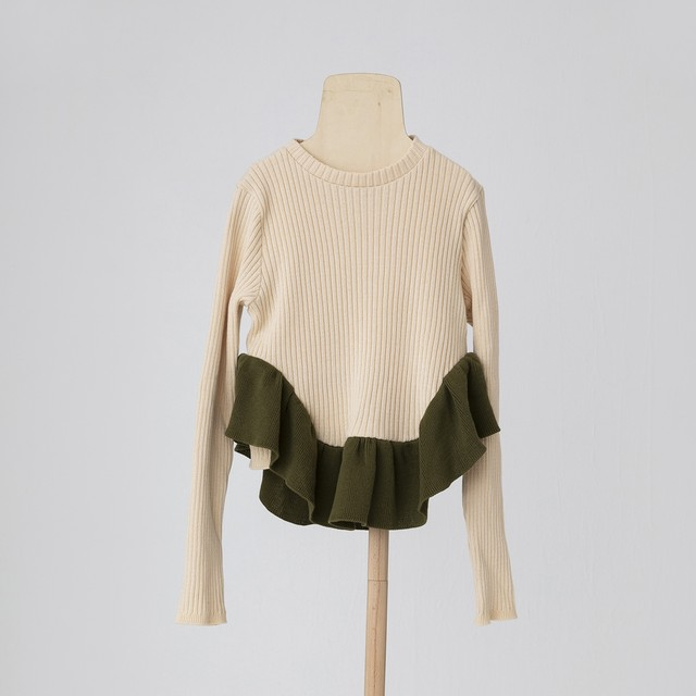 folk made  tutu knit S/M/L (ivory×khaki) F21AW-028 ※メール便1点までOK