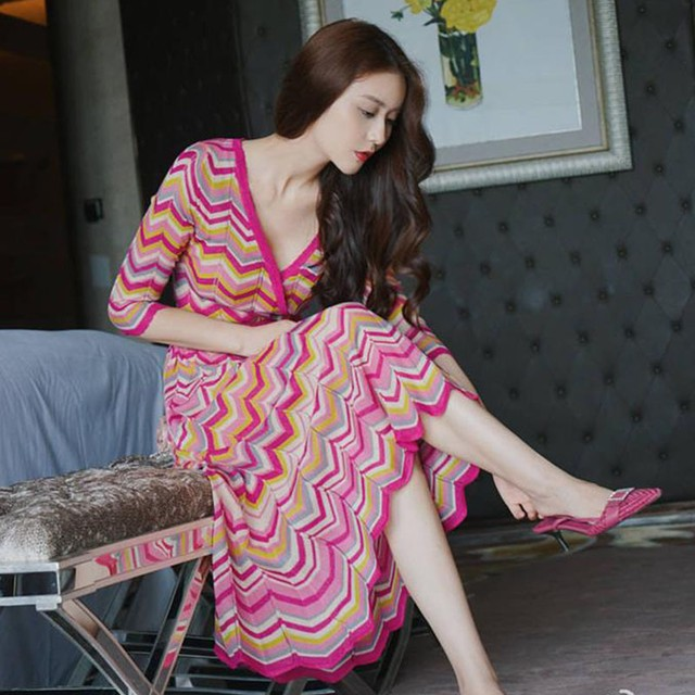 【dress】ファッションエレガント半袖着痩せニット薄手配色ワンピース