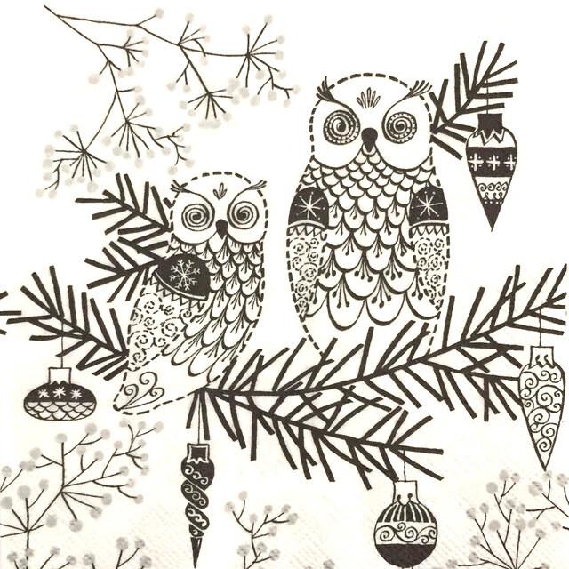 【IHR】バラ売り2枚 カクテルサイズ ペーパーナプキン OWL ORNAMENT ホワイト