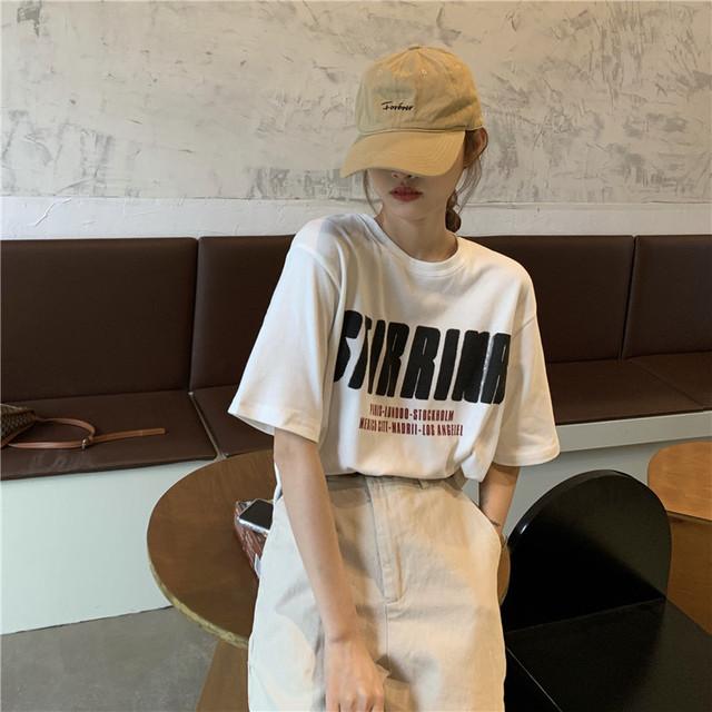 インパクトレタープリント半袖Tシャツ S3689