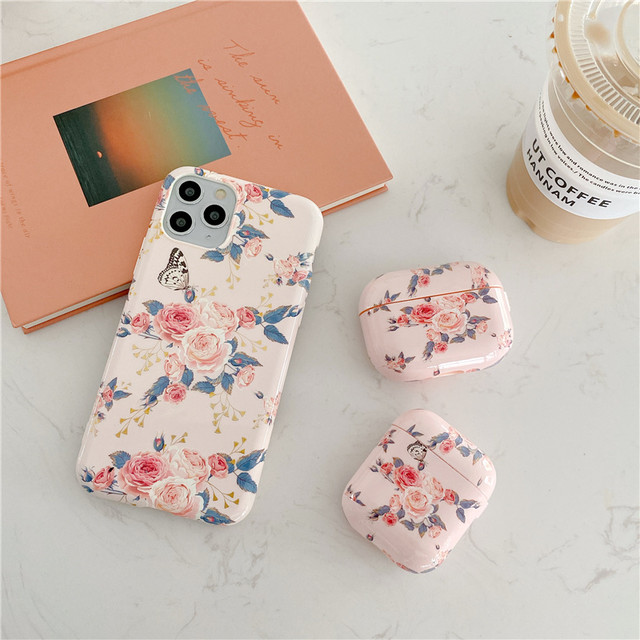 【セット販売】Lovely floral iphone case & airpods 1/2 Pro case