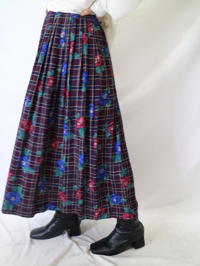 flower pattern pleats skirt【0738】