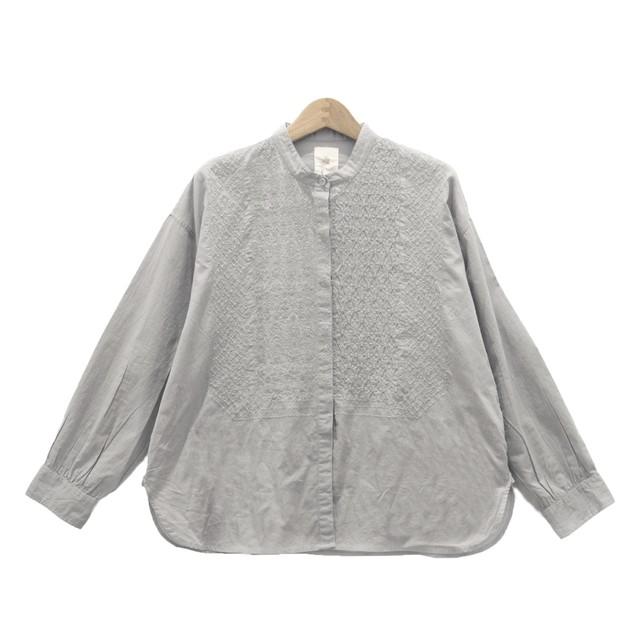 Maison de soil/メゾンドソイルORGANIC CAMBRIC BANDED COLLAR EMB SHIRTバンドカラーシャツ「NMDS20061」