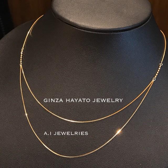 K18 18金 ダブル フープ ベネチアン  ネックレス 45cm necklace venetian