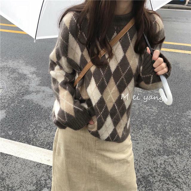 【送料無料】 冬っぽアーガイル♡ ベイクドカラー プルオーバー オーバーサイズ ニット トップス