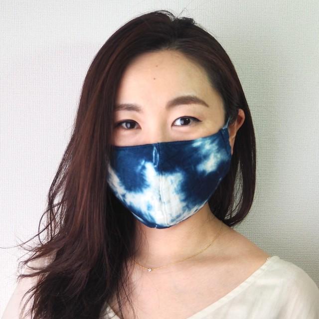 藍染めガーゼ 6 層仕立て 快適サラサラマスク(むらくも染め)