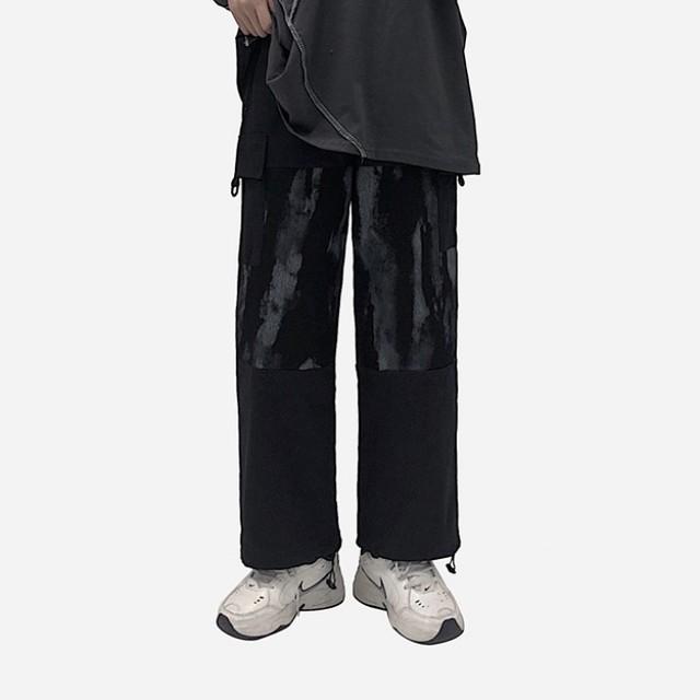 【ボトムス】韓国系グラデーション色レギュラー丈切り替えハイウエストカジュアルパンツ41489755