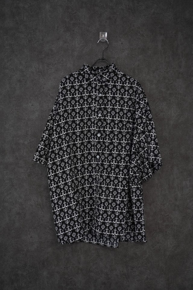【INTERPLAY】Open Collar S/S Over size Shirt  BLACK Pattern-