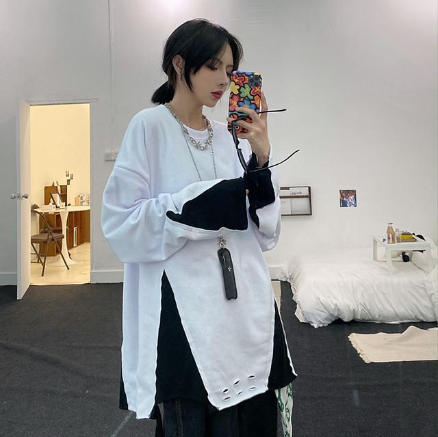 【トップス】大活躍韓国系ラウンドネック切り替え配色プルオーバーTシャツ41783262