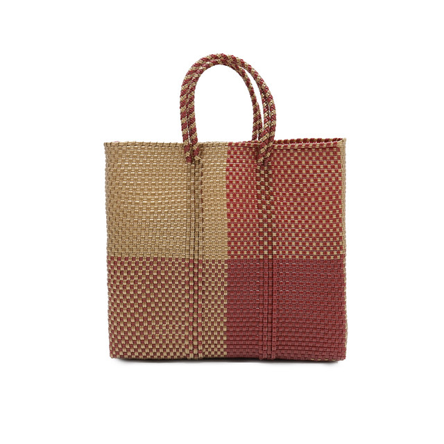 MERCADO BAG BLOCKS  -  Darkred x Gold(S)