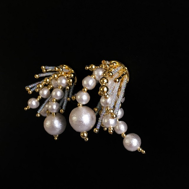 E-23 pierce/earring(gold×clear)