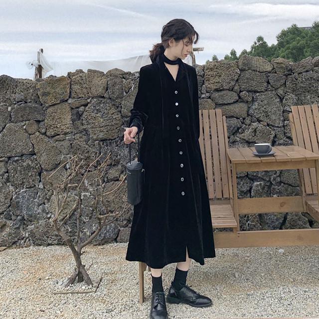 秋冬ショート丈長袖シャツワンピース SHD343001