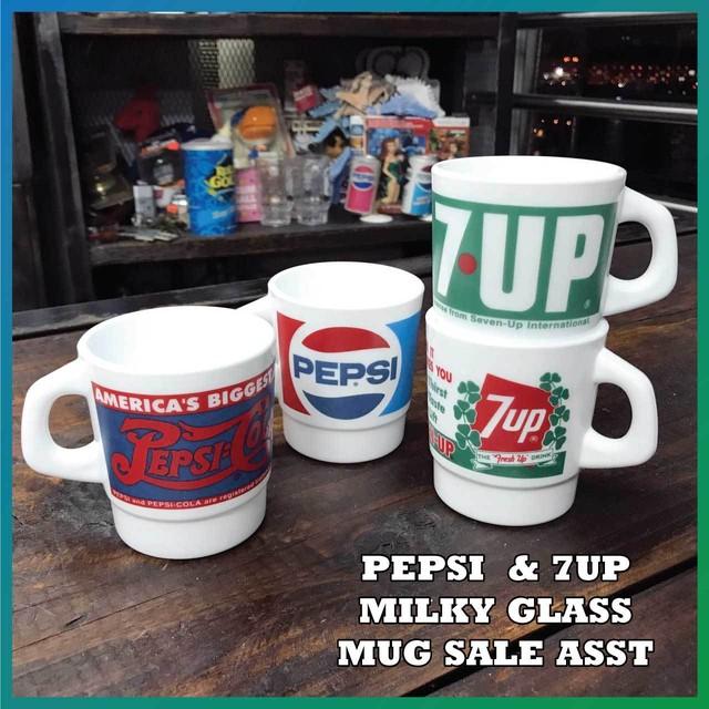 【SALE】PEPSI&7UP(ペプシコーラ・セブンアップ) ミルキー グラス マグカップ4個セット