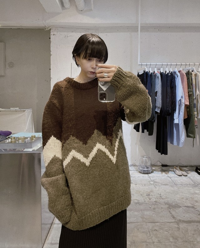 vintage over silhouette knit-brown-