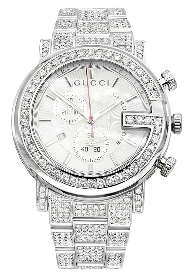 GENUINE MENS GUCCI CHRONO DIAMOND WATCH 12CT