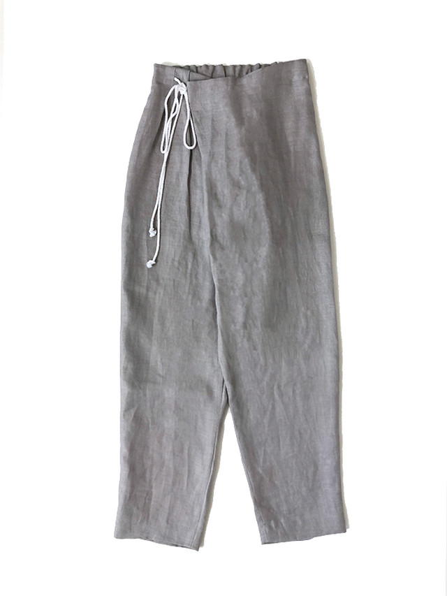 Linen over tuck pants Grey / THE FACTORY