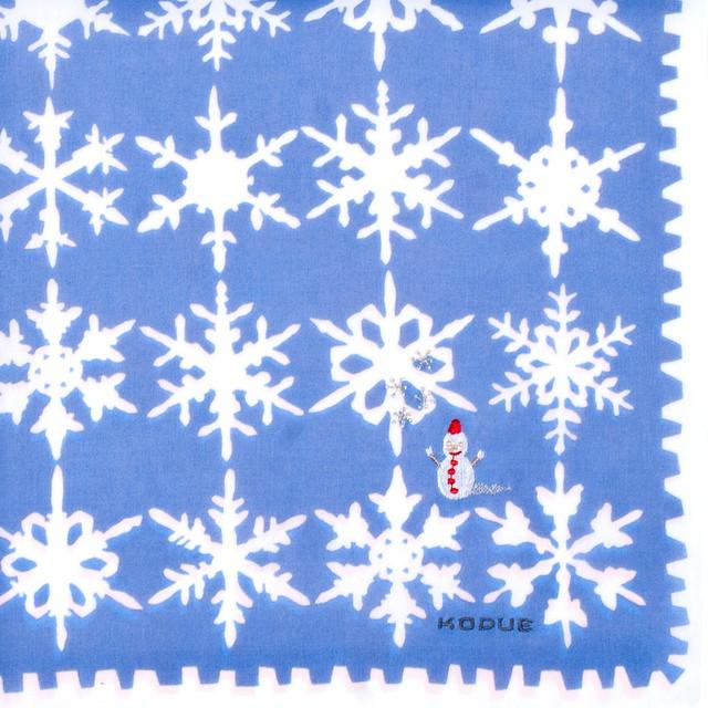 ひびのこづえ ハンカチ 雪の結晶 / ブルー 刺繍入り 2枚合わせ 48x48cm KH07-15