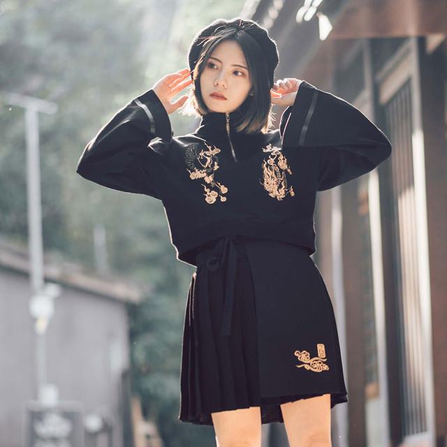 チャイナ風トップス ブラウス チャイナ風シャツ チャイナ風服 改良唐装 改良漢服 女子会 同窓会 普段着 中華服 スタンドネック 長袖 可愛い S M L ブラック 黒い コットン 個性的