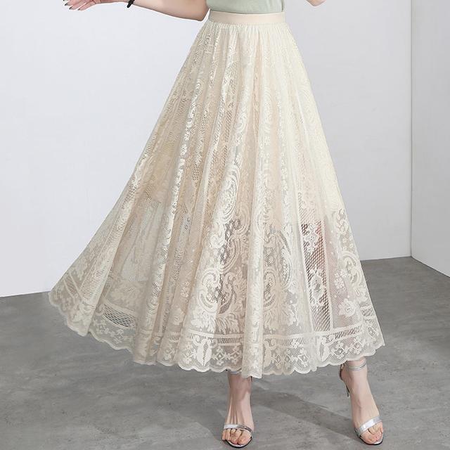 クラシカルレースロングスカート*3color 100427