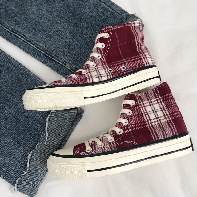 【shoes】定番合わせやすい配色チェック柄丸トゥ帆布スニーカー