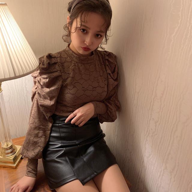 asymmetry leather skirt