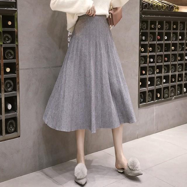 【skirt】大人可愛いギャザー飾りファッションフェミニンOL無地すね丈プリーツスカート