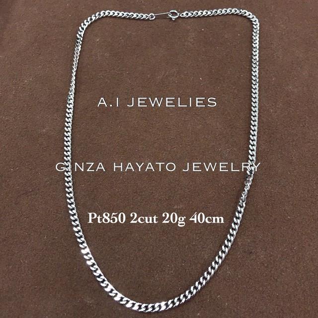 Pt850 プラチナ850 2面喜平 ネックレス 20g 40cm レディース サイズ 新品 本物 造幣局 ホールマーク 品位証明刻印入り
