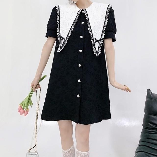 ミニワンピース 花柄 ハート 襟 大きめ リボン デザイン ブラック ワンカラー B8071