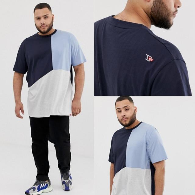 ビッグサイズ 【Duke King Size】パネルカットソー Tシャツ ブルー