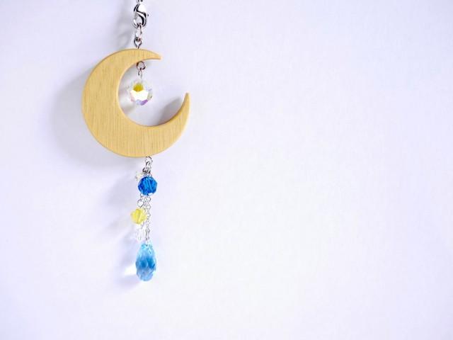 【Y-08】月の帯飾り(根付け)《天色×瑠璃色×菜の花色》
