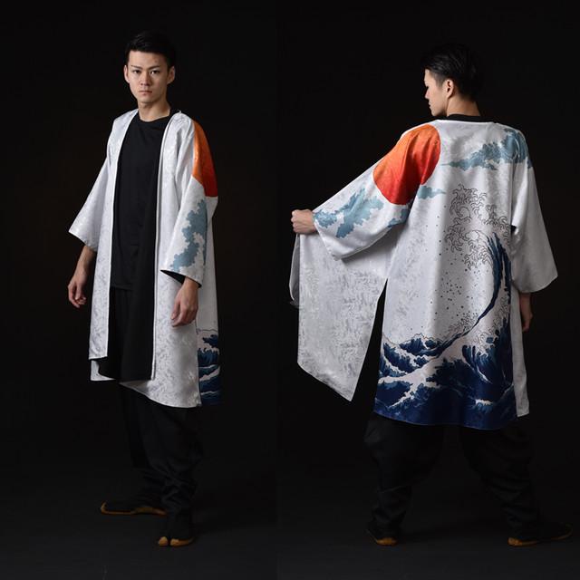 羽織 波柄白 ポリエステル【日本製】 太鼓衣装 よさこい衣装