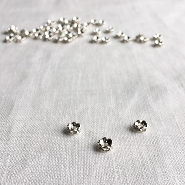 ラインストーン・花形ロンデルパーツ(6mm)Silver