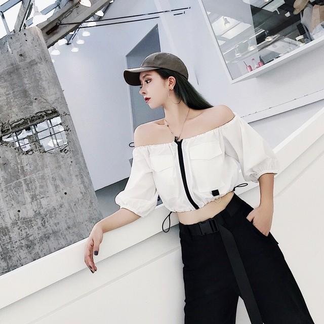 【即納】sexy middle zipper shirt