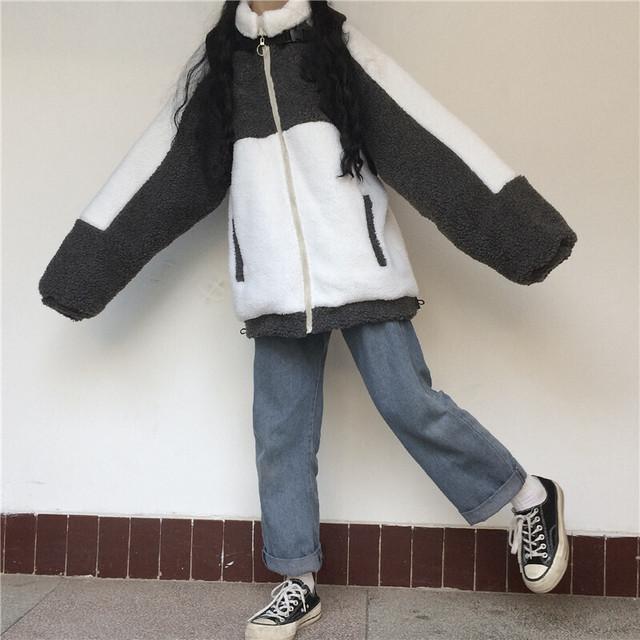 【大きいサイズ韓国レディース】 5900 メンズライク アウター 配色 モノトーン バイカラー ボア ブルゾン 送料無料