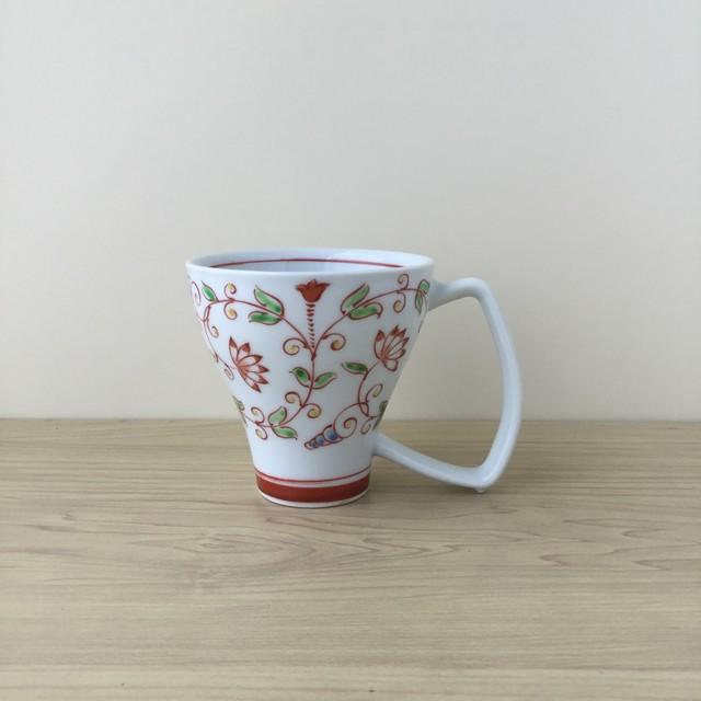 【吉田焼】つる草紋 マグカップ(赤)【在庫限り】