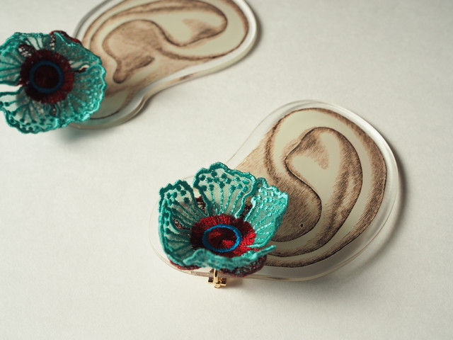 ARRO / Embroidery earing / FLOWERS AT DAWN 2 / MINT