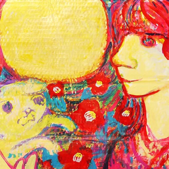 月と犬と女の子