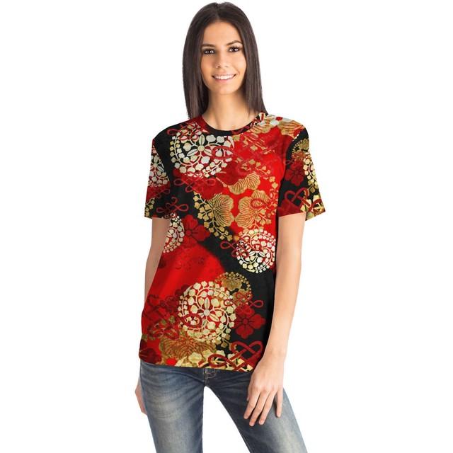 家紋 Red Black ユニセックスTシャツ
