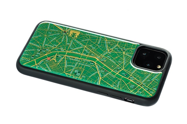 FLASH Paris回路地図 iPhone 11 Pro ケース  緑【東京回路線図A5クリアファイルをプレゼント】