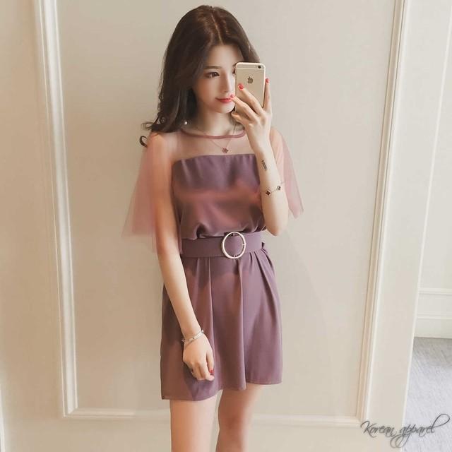 半袖 ラウンドネック シースルー シフォン パーティー ドレス