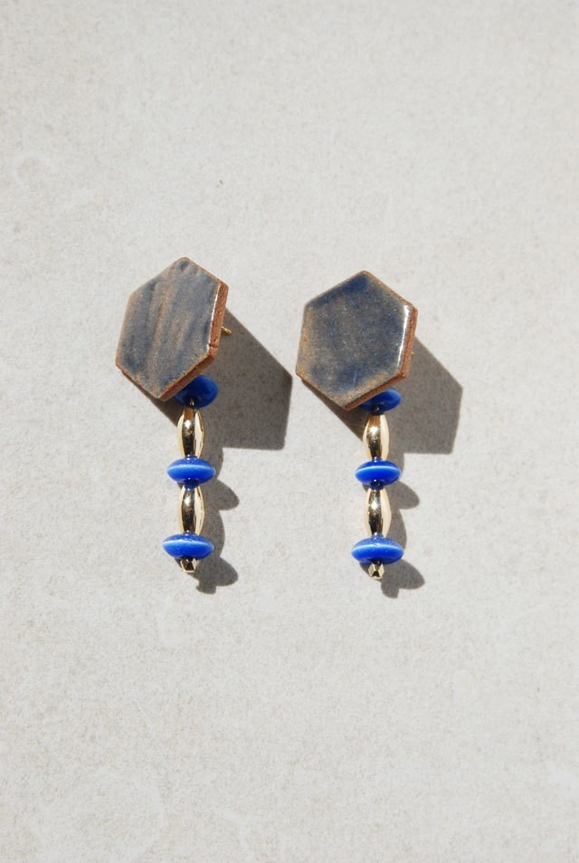 Pierce: Glass Beads & 特製タイル [青]