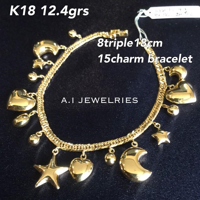 K18 18金 8面 トリプル 喜平 チャーム ブレスレット新品 本物 オーダーメイド 豪華