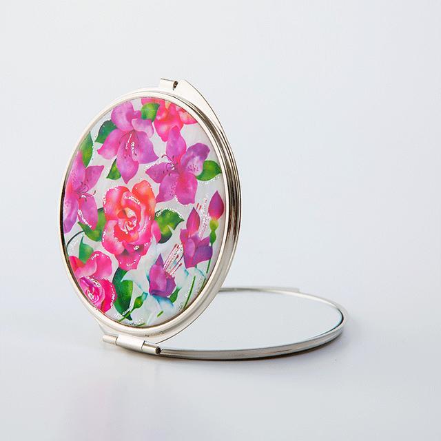 天然貝 コンパクトミラー(バラ・フクシア・ツツジ ~愛の花言葉~)<螺鈿アート>