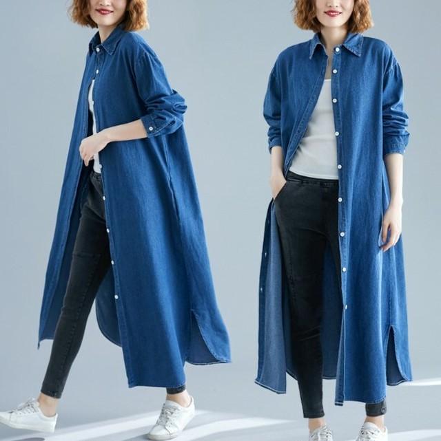 シャツジャケット デニム ロング 2色